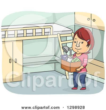 Clipart of a Cartoon Red Haired White Woman Moving into a Dorm - Royalty Free Vector Illustration by BNP Design Studio