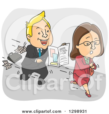 Clipart of a Cartoon Blond White Insurance Agent Chasing After a Woman - Royalty Free Vector Illustration by BNP Design Studio