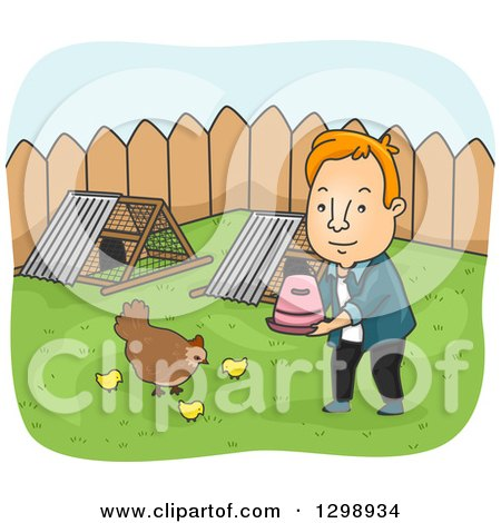 Clipart of a Red Haired White Man Tending to Chickens in His Back Yard - Royalty Free Vector Illustration by BNP Design Studio