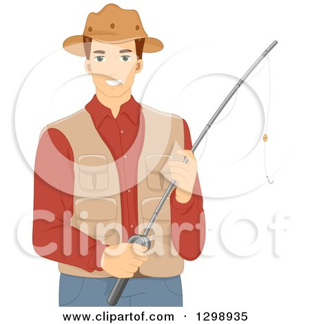 Clipart of a Brunette White Man Holding a Fishing Pole, Wearing a Vest and Hat - Royalty Free Vector Illustration by BNP Design Studio