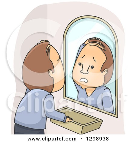 Clipart of a Distressed Brunette White Man Going Bald - Royalty Free Vector Illustration by BNP Design Studio