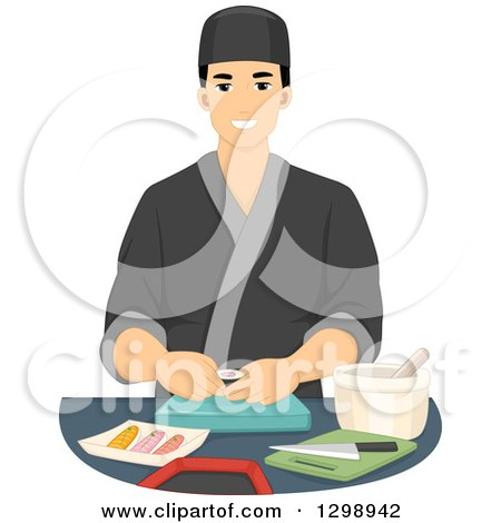 Clipart of a Handsome Young Male Sushi Chef - Royalty Free Vector Illustration by BNP Design Studio