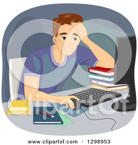Clipart of a Tired Brunette White Man Working or Studying Online - Royalty Free Vector Illustration by BNP Design Studio