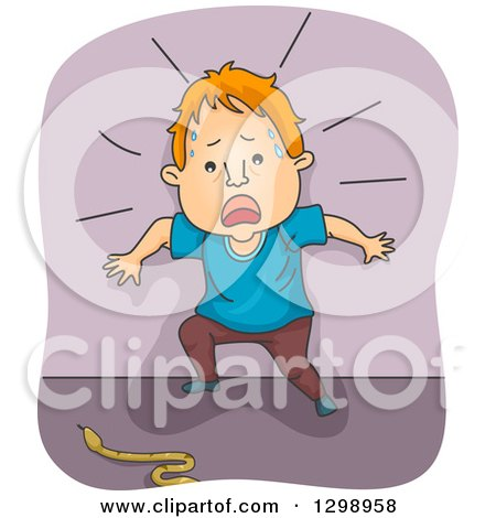 Clipart of a Cartoon Red Haired White Man Screaming by a Snake - Royalty Free Vector Illustration by BNP Design Studio