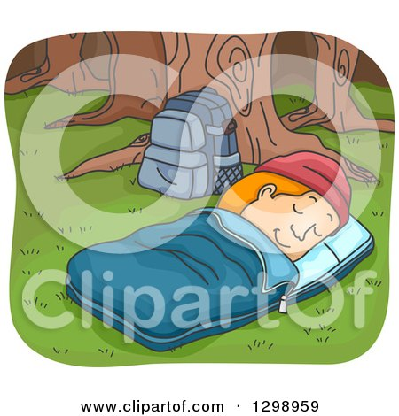 Clipart Of A Cartoon Red Haired White Man In Sleeping Bag Camping The Woods