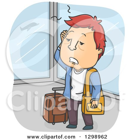Clipart of a Cartoon Exhausted Red Haired White Man in an Airport - Royalty Free Vector Illustration by BNP Design Studio