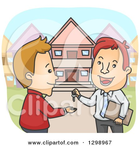 Clipart of a Cartoon Happy White Male Realtor Giving a House Key to a Client - Royalty Free Vector Illustration by BNP Design Studio