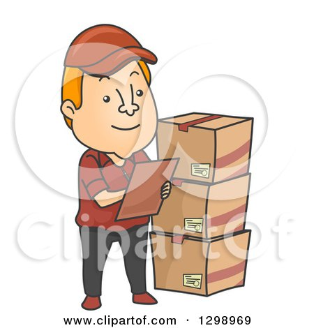 clipart of a cartoon red haired white male inventory checker with boxes royalty free vector illustration by bnp design studio