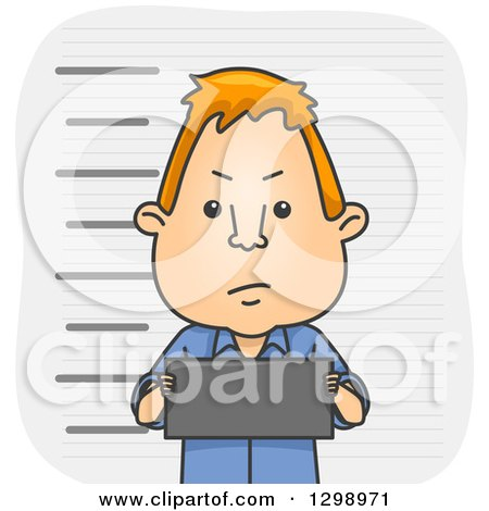 Clipart of a Red Haired White Cartoon Man Holding a Board in a Mug Shot - Royalty Free Vector Illustration by BNP Design Studio