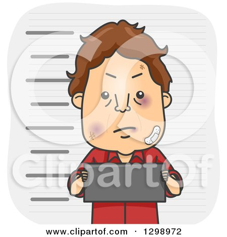 Clipart of a Cartoon Beat up Brunette White Man Holding a Placard in a Mug Shot - Royalty Free Vector Illustration by BNP Design Studio