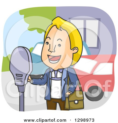Cartoon Blond White Man Paying Parking Fees at a Meter Posters, Art Prints