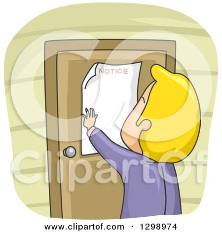 Clipart of a Rear View of a Cartoon Blond White Man Putting a Notice on His Door - Royalty Free Vector Illustration by BNP Design Studio