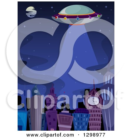 Clipart of a Ufo Flying over a City at Night - Royalty Free Vector Illustration by BNP Design Studio