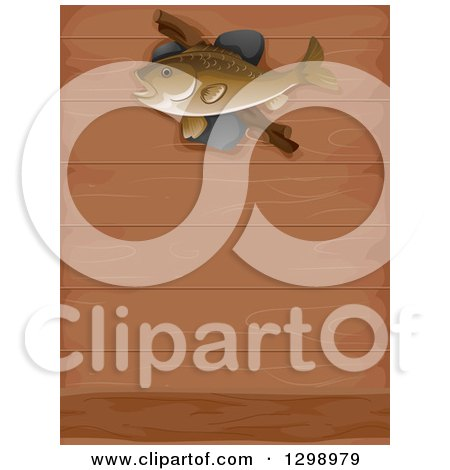 Clipart of a Fish Mounted on a Wood Wall - Royalty Free Vector Illustration by BNP Design Studio