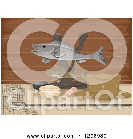 Clipart of a Statue Made of Stuffed Fish with Shells and Gear over Wood - Royalty Free Vector Illustration by BNP Design Studio