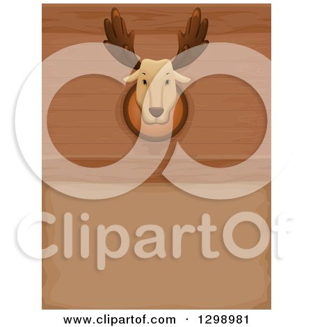 Clipart of a Taxidermy Mounted Moose Head on a Wood Wall - Royalty Free Vector Illustration by BNP Design Studio