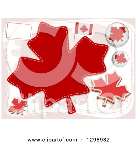 Clipart of Canadian Flags, Pins and Maple Leaves - Royalty Free Vector Illustration by BNP Design Studio