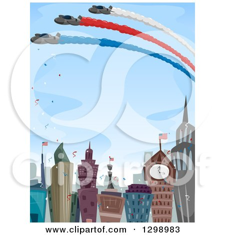 Clipart of an Aviation Show over a Celebrating City - Royalty Free Vector Illustration by BNP Design Studio