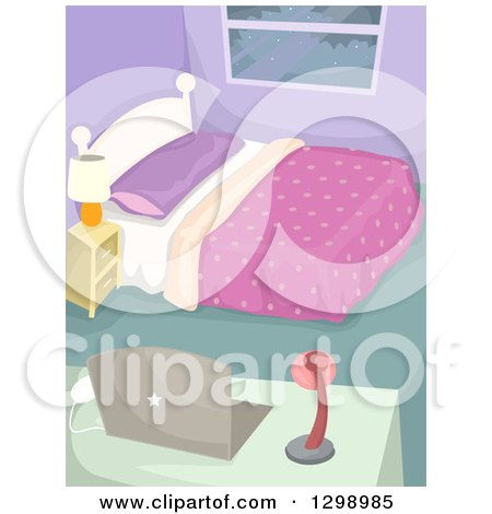 Clipart of a Neat and Clean Bedroom with a Laptop on a Desk - Royalty Free Vector Illustration by BNP Design Studio