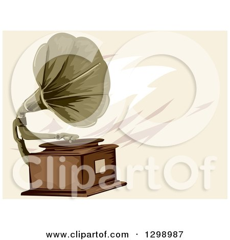 Clipart of a Vintage Gramophone over Tan - Royalty Free Vector Illustration by BNP Design Studio