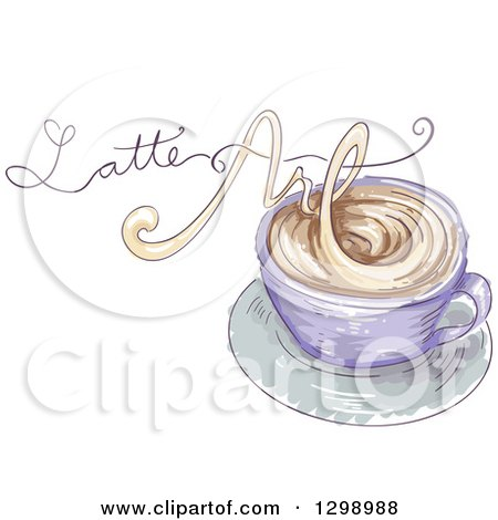 Clipart of a Sketched Coffee Cup with Latte Art Text Made of Steam - Royalty Free Vector Illustration by BNP Design Studio