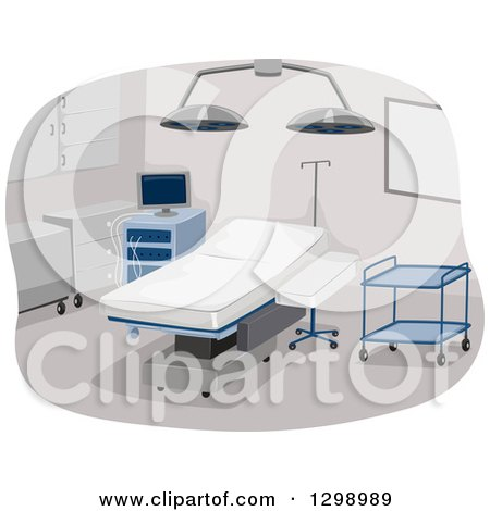 Clipart of a Clean Empty Operating Room with Surgical Equipment - Royalty Free Vector Illustration by BNP Design Studio
