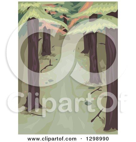 Clipart of a Dark Wooded Area with Tall Pine Trees - Royalty Free Vector Illustration by BNP Design Studio
