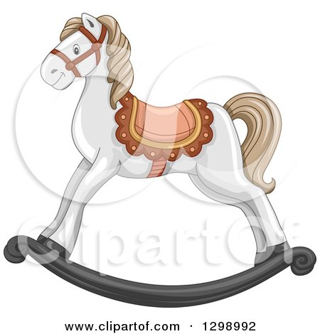 Clipart of a White Rocking Horse - Royalty Free Vector Illustration by BNP Design Studio