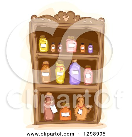 Clipart of a Cabinet of Essential Oils - Royalty Free Vector Illustration by BNP Design Studio