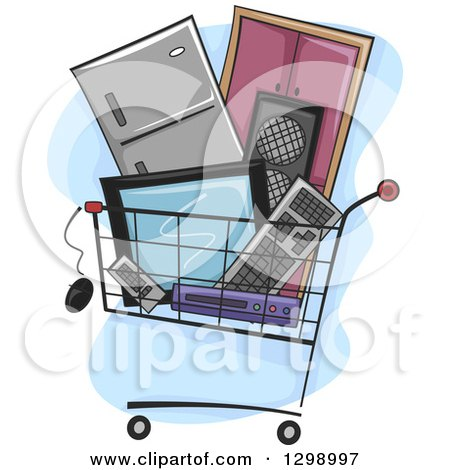 Clipart of a Shopping Cart Filled with Appliances and Electronics - Royalty Free Vector Illustration by BNP Design Studio