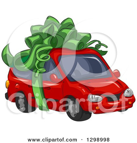 Clipart of a Red Minivan Wrapped with a Big Green Bow - Royalty Free Vector Illustration by BNP Design Studio