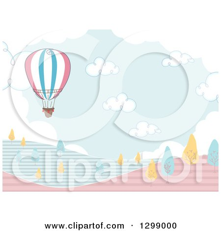 Clipart of a Hot Air Balloon over Hills with Blue and Yellow Trees - Royalty Free Vector Illustration by BNP Design Studio