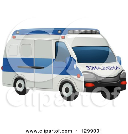 Clipart of a White and Blue Ambulance - Royalty Free Vector Illustration by BNP Design Studio