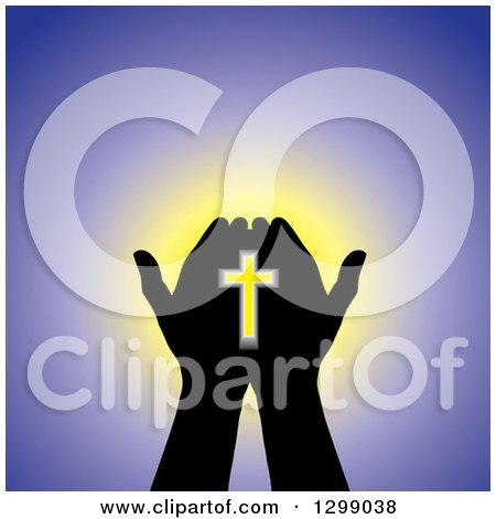 Clipart of Silhouetted Hands Holding a Cross with Glowing Light on Purple - Royalty Free Vector Illustration by ColorMagic