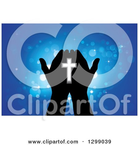 Clipart of Silhouetted Hands Holding a Cross with Glowing Blue Lights - Royalty Free Vector Illustration by ColorMagic