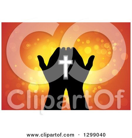 Clipart of Silhouetted Hands Holding a Cross with Glowing Orange Lights - Royalty Free Vector Illustration by ColorMagic