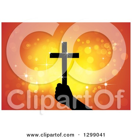 Clipart of a Silhouetted Hand Holding up a Cross with Glowing Orange Lights - Royalty Free Vector Illustration by ColorMagic