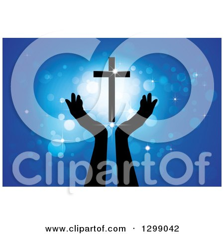Clipart of Silhouetted Hands Under a Floating Cross with Glowing Blue Lights - Royalty Free Vector Illustration by ColorMagic