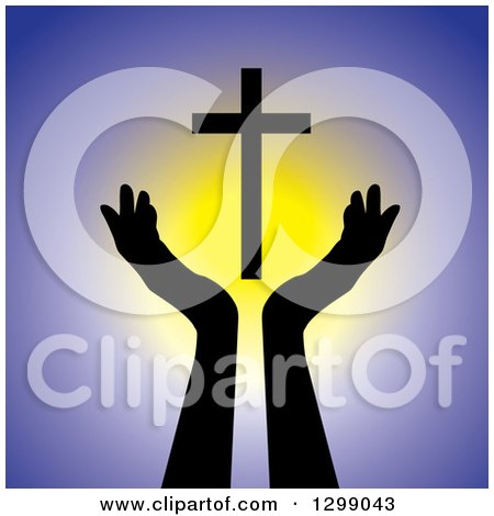Clipart of Silhouetted Hands Under a Floating Cross over Yellow and Purple - Royalty Free Vector Illustration by ColorMagic