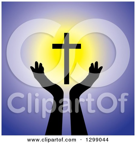 Clipart of Silhouetted Hands Under a Floating Glowing Cross over Purple - Royalty Free Vector Illustration by ColorMagic