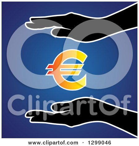 Clipart of Silhouetted Hands Protecting a Gradient Euro Currency Symbol, over Blue - Royalty Free Vector Illustration by ColorMagic