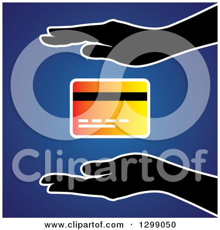 Clipart of Silhouetted Hands Protecting a Gradient Credit Card over Blue - Royalty Free Vector Illustration by ColorMagic