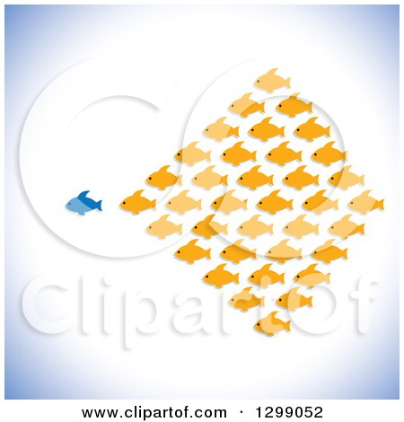 Clipart of a Different Blue Fish Leading a School of Orange Fish - Royalty Free Vector Illustration by ColorMagic