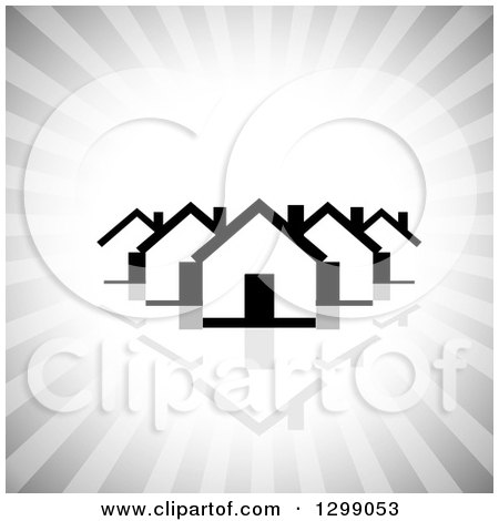 Clipart of a Black and White Houses with a Reflection over Gray Rays - Royalty Free Vector Illustration by ColorMagic