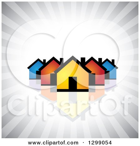 Clipart of a Neighborhood of Colorful Houses with a Reflection over Gray Rays - Royalty Free Vector Illustration by ColorMagic