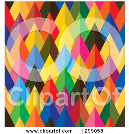 Clipart of a Geometric Background of Colorful Arrows or Pyramids - Royalty Free Vector Illustration by ColorMagic