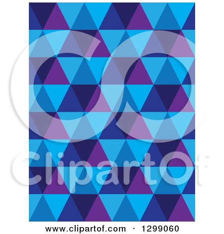 Clipart of a Geometric Background of Blue and Purple Triangles - Royalty Free Vector Illustration by ColorMagic