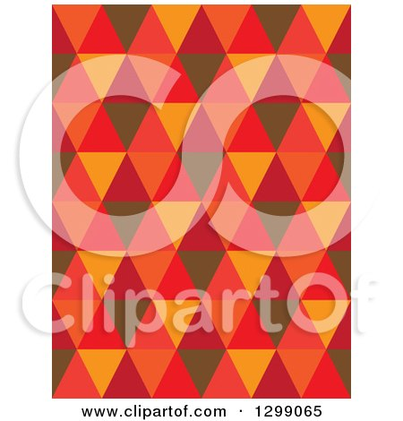 Clipart of a Geometric Background of Brown Orange and Red Triangles - Royalty Free Vector Illustration by ColorMagic