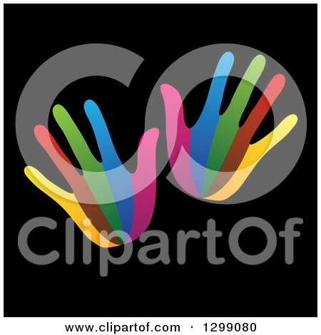 Clipart of a Pair of Colorful Hands on Black - Royalty Free Vector Illustration by ColorMagic