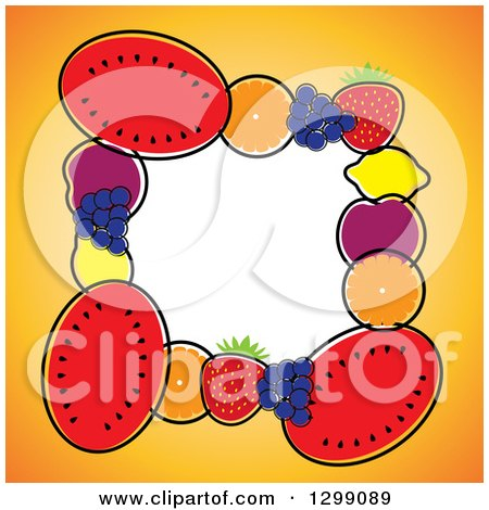 Clipart of a Border of Watermelons, Navel Oranges, Blueberries, Strawberries, Lemons, Plums and Navel Oranges Around White Space - Royalty Free Vector Illustration by ColorMagic